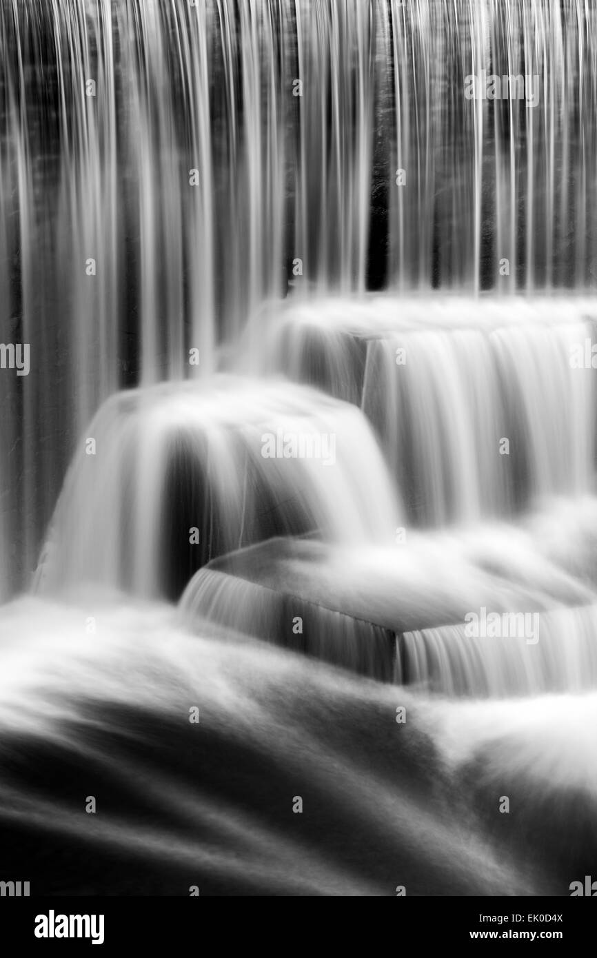 Detail of the Seeley's Pond waterfall, in New Jersey. The very long exposure and the natural motion blur creates - Stock Image