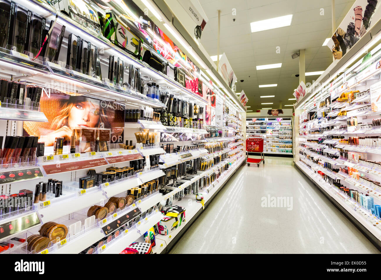 Shelves with cosmetics in a Target store - Stock Image