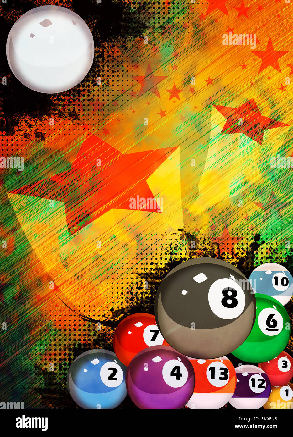 Abstract billiard invitation advert background with empty space - Stock Image