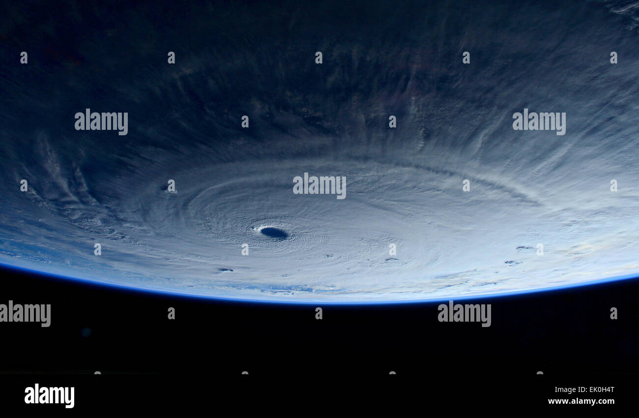 View from the International Space Station of the massive category 5 Typhoon Maysak eye as it approaches the Philippine - Stock Image