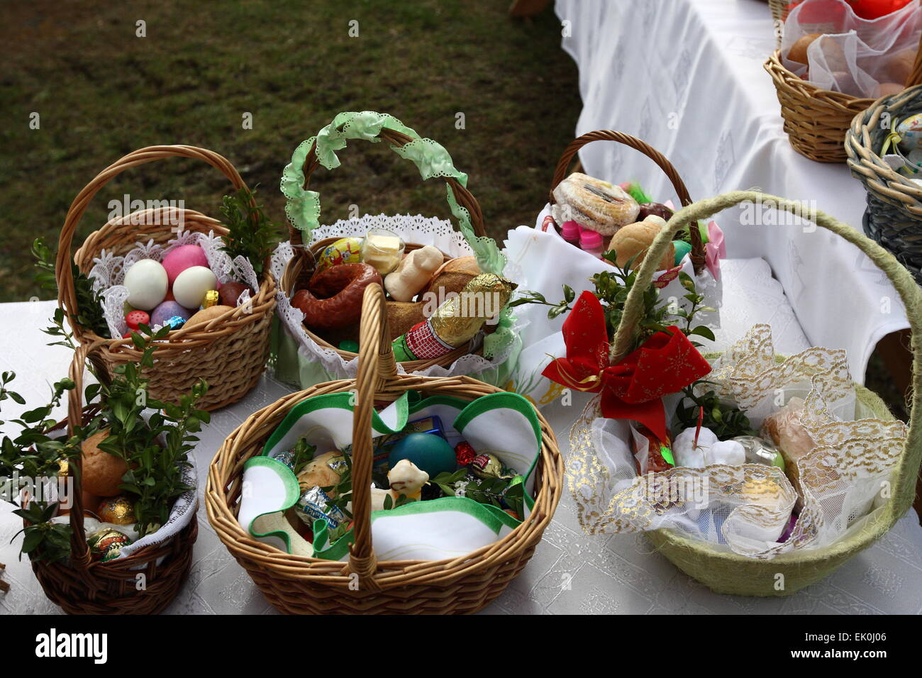 Sobowidz, Poland 4th, April 2015 Swieconka - the tradition of food blessing at Easter is one of the most enduring Stock Photo