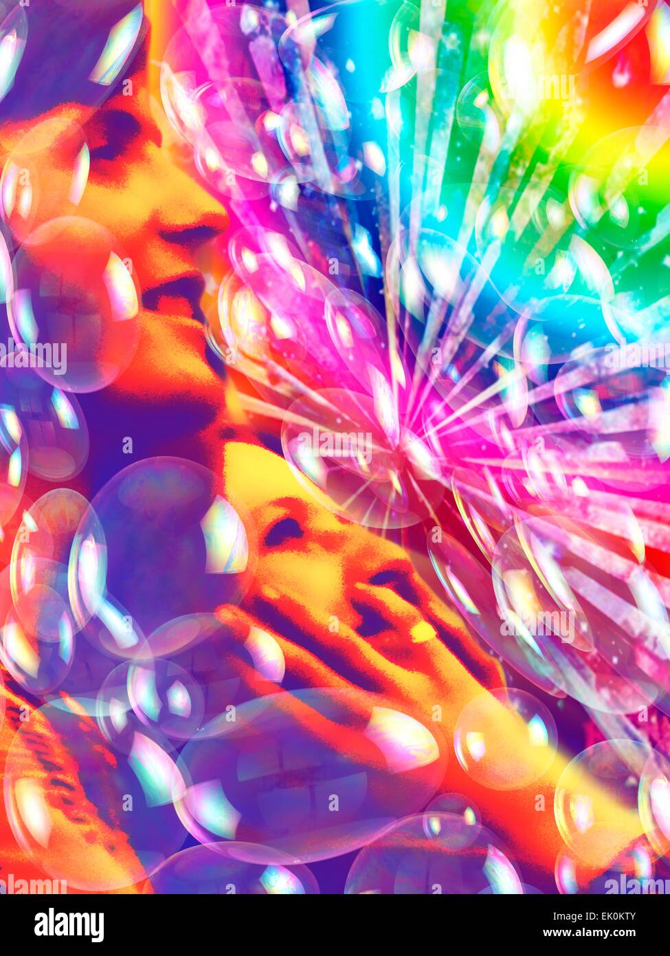 artwork, digitally generated, illustration, nobody, no one, no-one, psychedelic, colourful, colorful, bright, bright - Stock Image