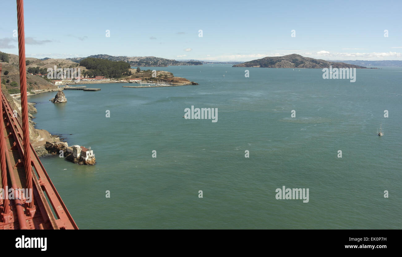Blue sky view, across San Francisco Bay, from Golden Gate Bridge to Lime Point Fog Station, Fort Baker and Angel - Stock Image