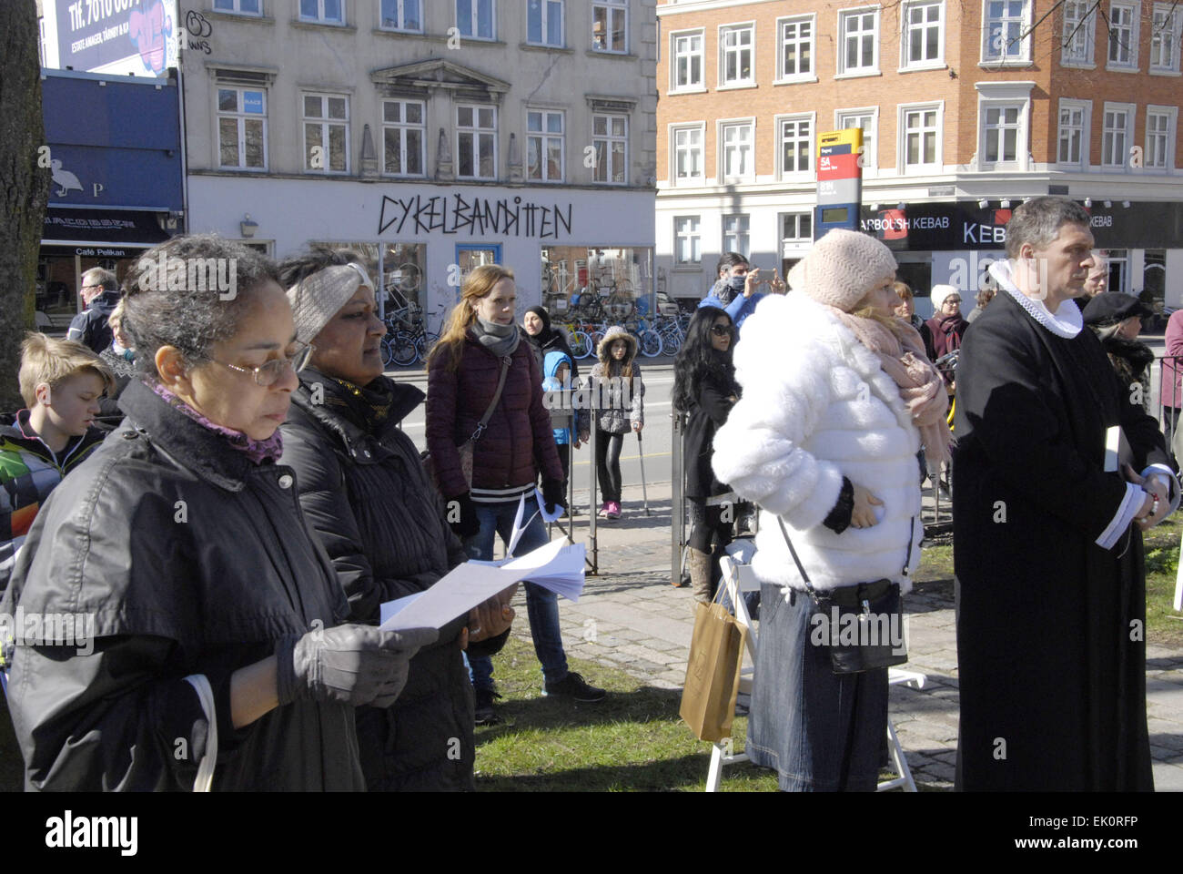 Copenhagen, Denmark. 4th April, 2015. Sundby luther church holds easter saturday yard service for general public Stock Photo