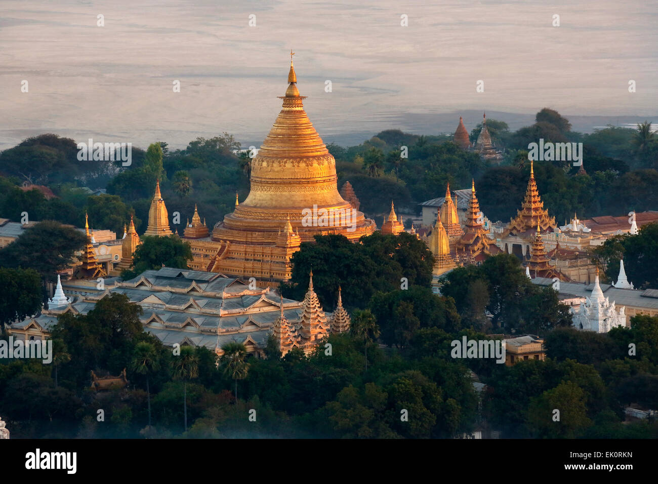 Early morning aerial view of the Shwezigon Pagoda near the Irrawaddy River in Bagan in Myanmar (Burma). Stock Photo