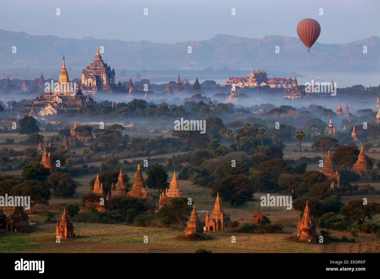 Early morning aerial view of the temples of the Archaeological Zone near the Irrawaddy River in Bagan in Myanmar Stock Photo