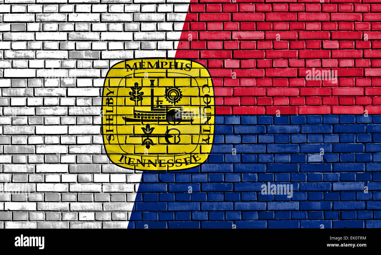 flag of Memphis painted on brick wall - Stock Image