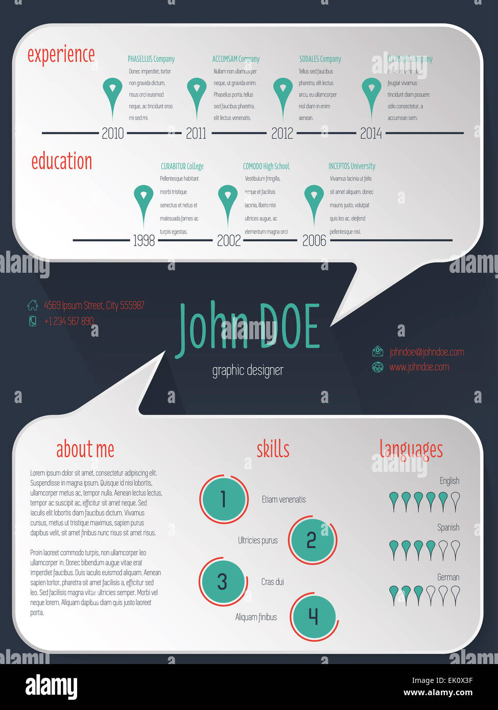 speech bubble resume cv curriculum vitae template design on dark stock photo  80540419