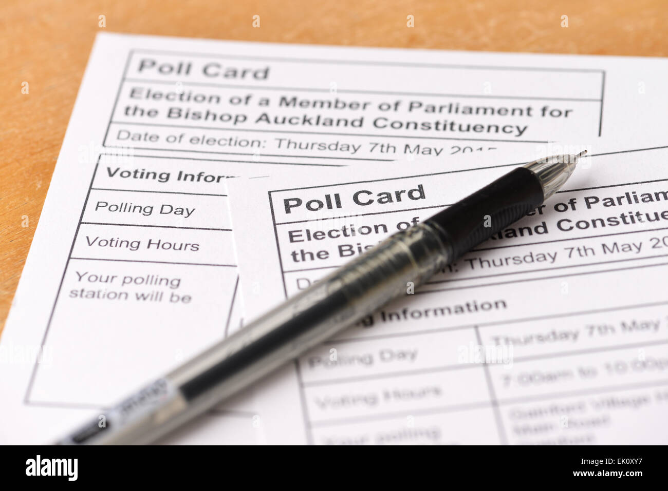 Polling cards for the UK General Election in May 2015 - Stock Image