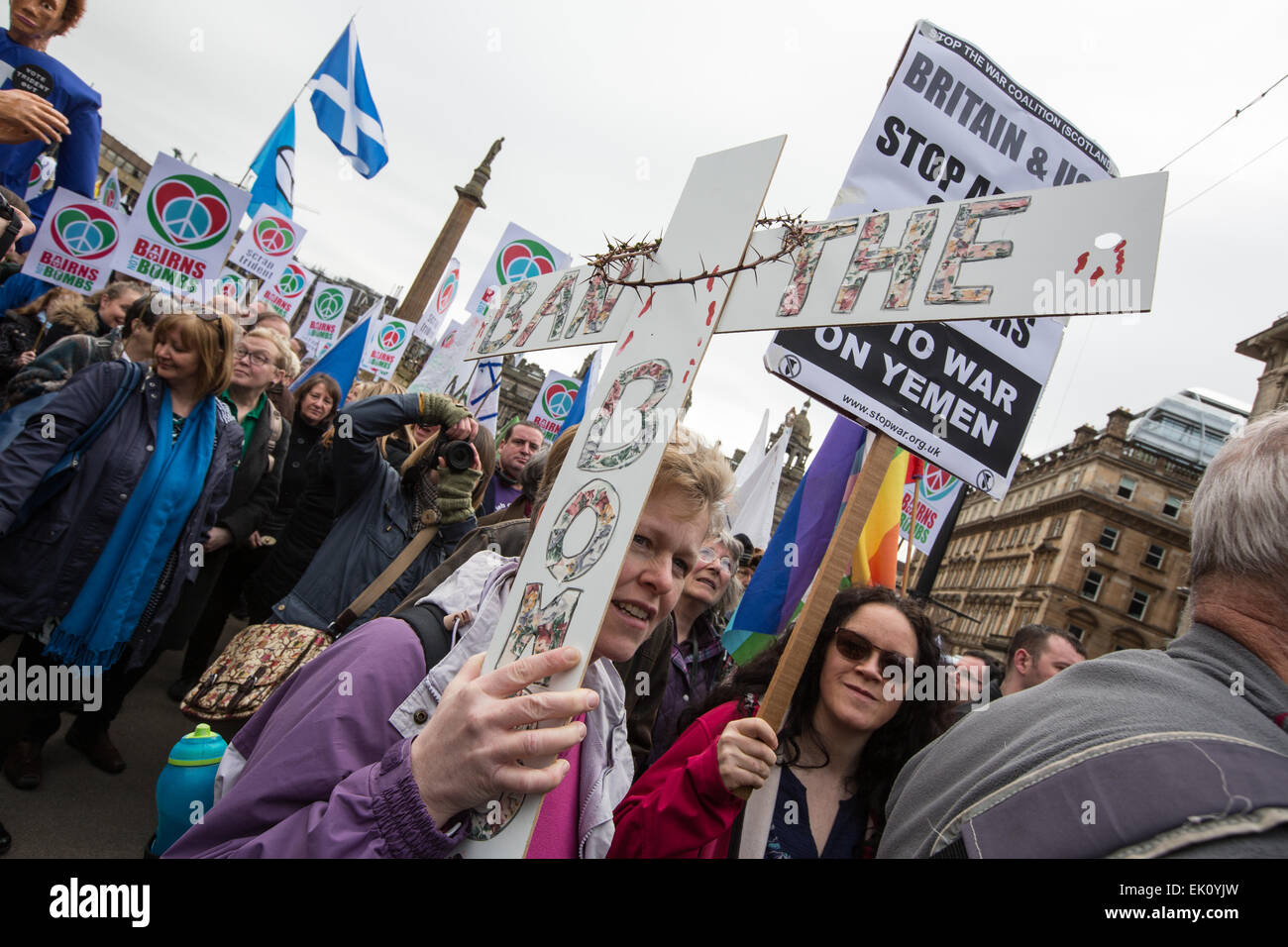 Glasgow, Scotland, UK. 4th April, 2015. An anti-Trident nuclear missile demonstration, at which Nicola Sturgeon, - Stock Image