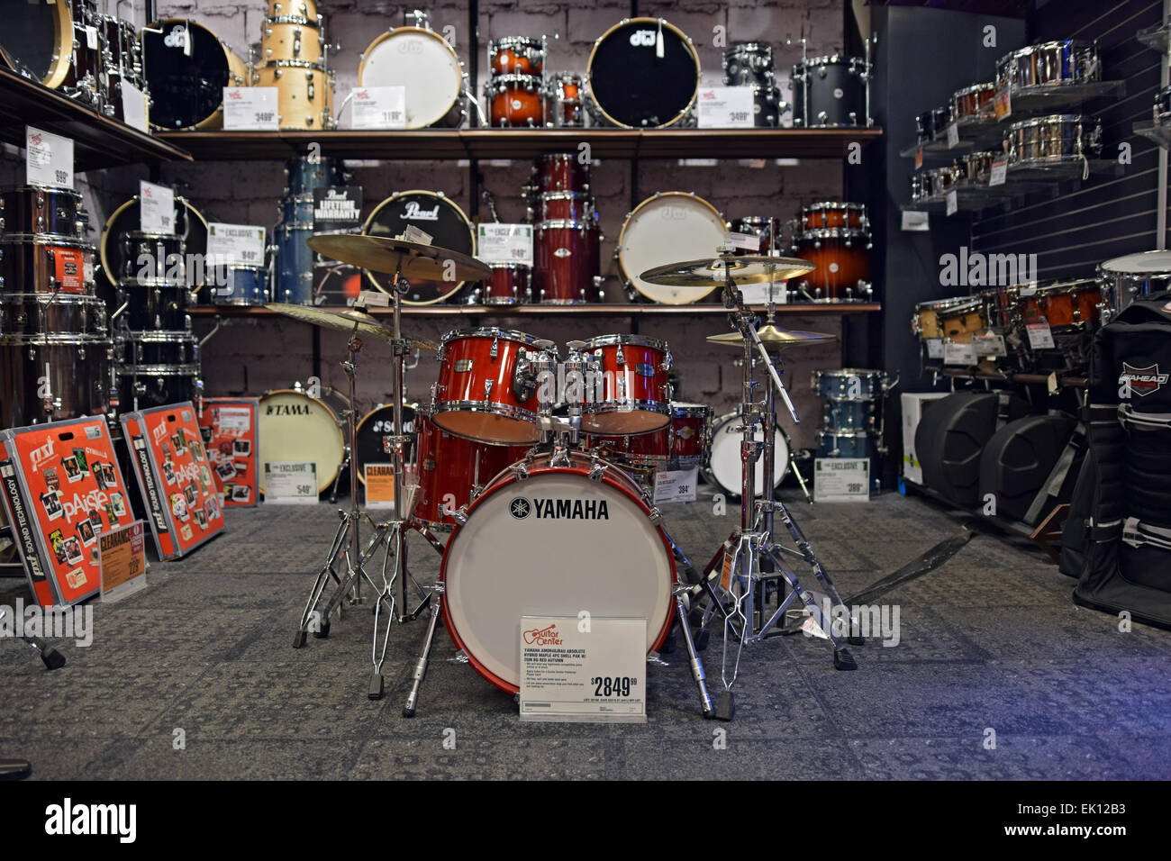 drum kits and percussion instruments for sale at the guitar center on stock photo 80543767 alamy. Black Bedroom Furniture Sets. Home Design Ideas