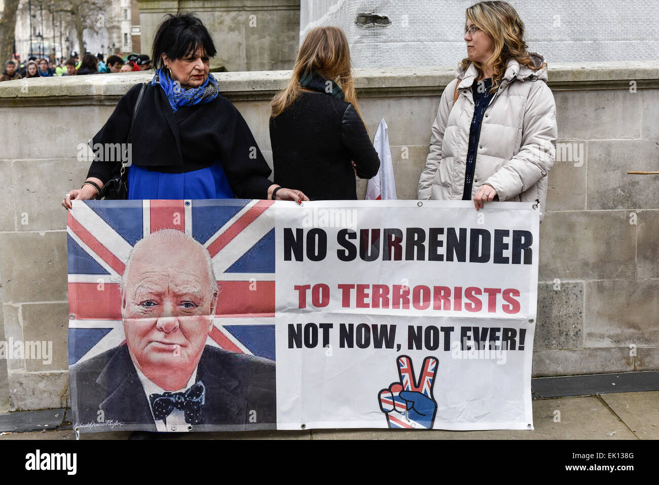 London, UK. 4th April, 2015. Members of Pegida, demonstrated in Whitehall today as police clashed with anti-fascists. - Stock Image