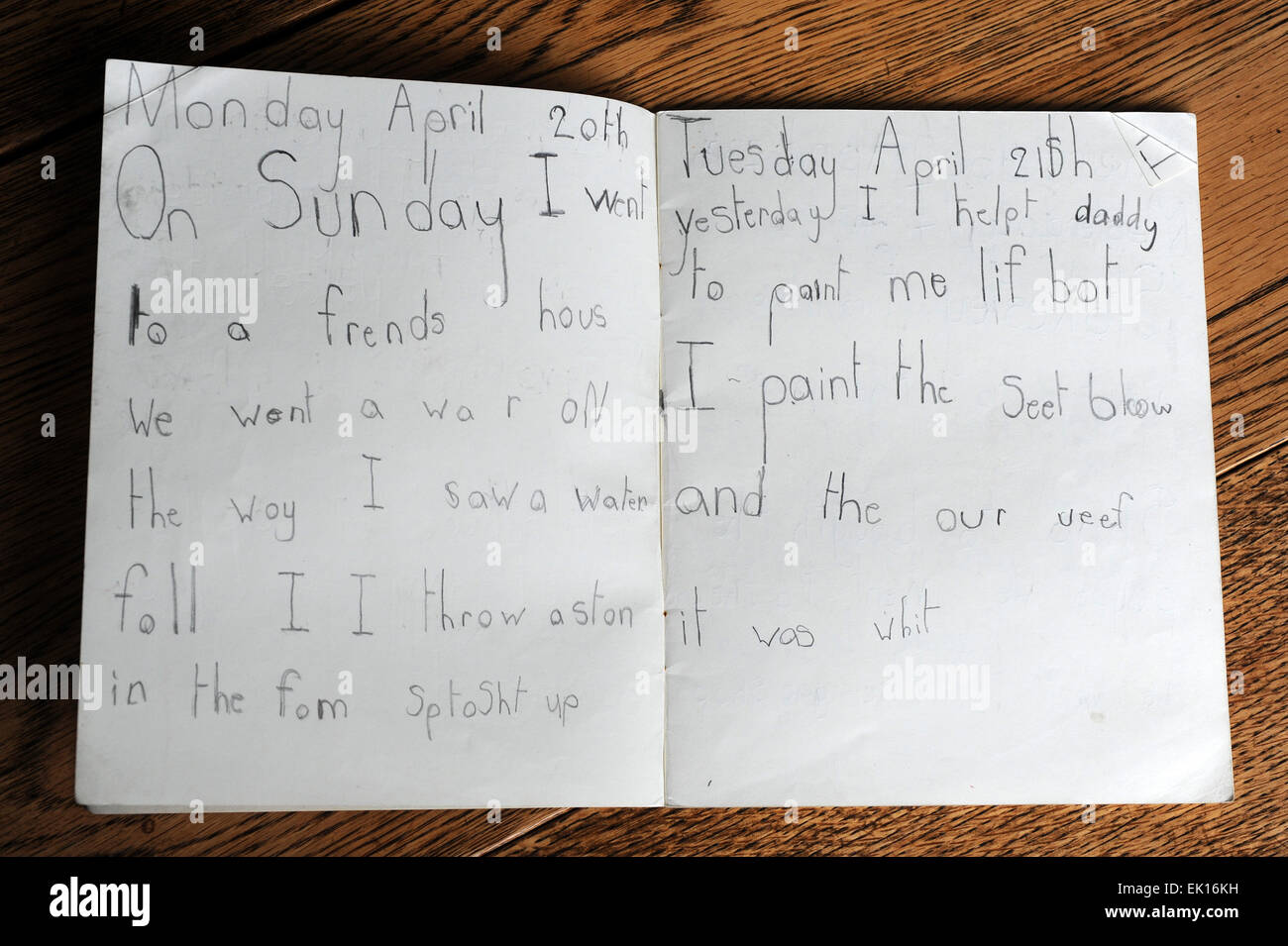 Diaries of primary school children in the United Kingdom - Stock Image