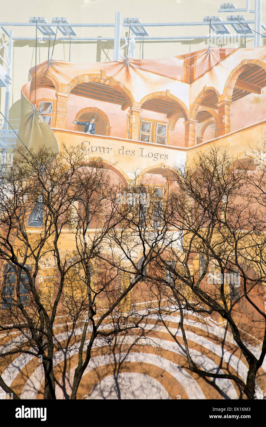 Painted wall image of murals, yellow based colors with upper branches foreground - Stock Image