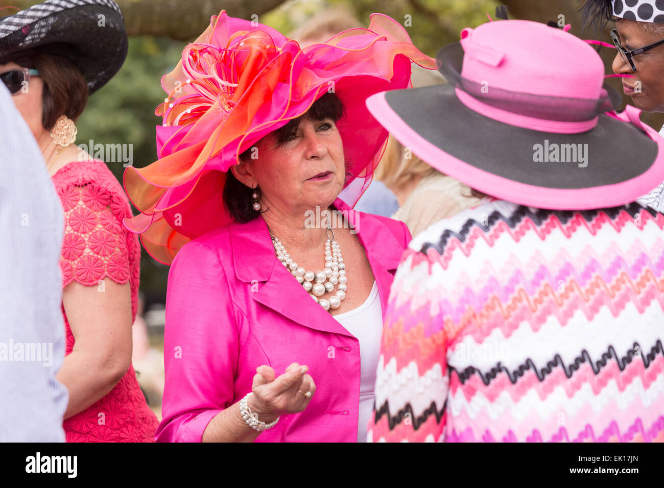 Two elderly women show off their Easter finery during the annual Hat Ladies Easter Gathering in Marion Square April - Stock Image