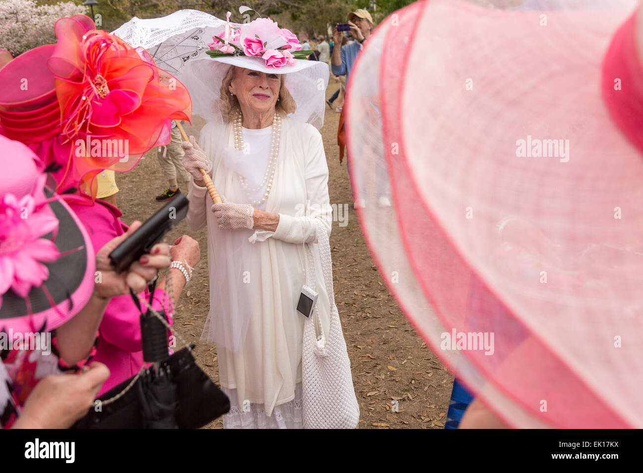 Charleston, South Carolina, USA. 04th Apr, 2015. Charlestonians in their Easter finery during the annual Hat Ladies - Stock Image