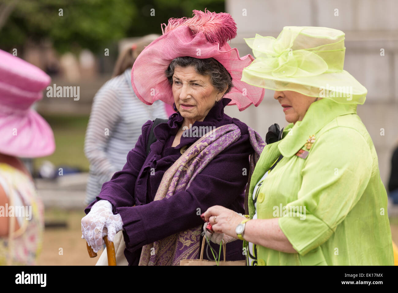 Charlestonians gather during the annual Hat Ladies Easter Promenade in Marion Square April 4, 2015 in Charleston, - Stock Image