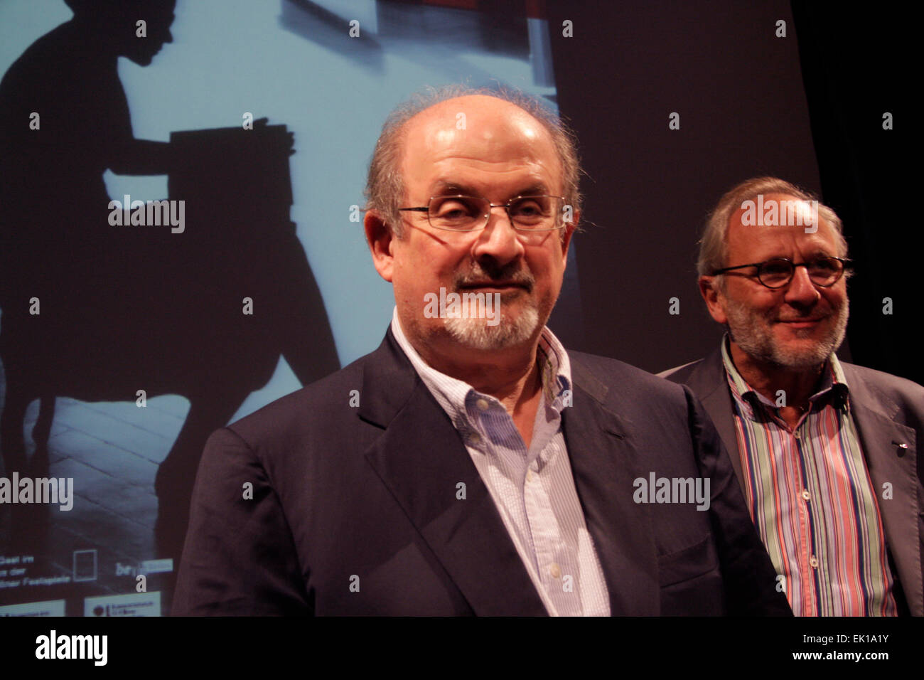 SEPTEMBER 14, 2013 - BERLIN: writer Salman Rushdie, Ulrich Schreiber at a press conference at the International - Stock Image