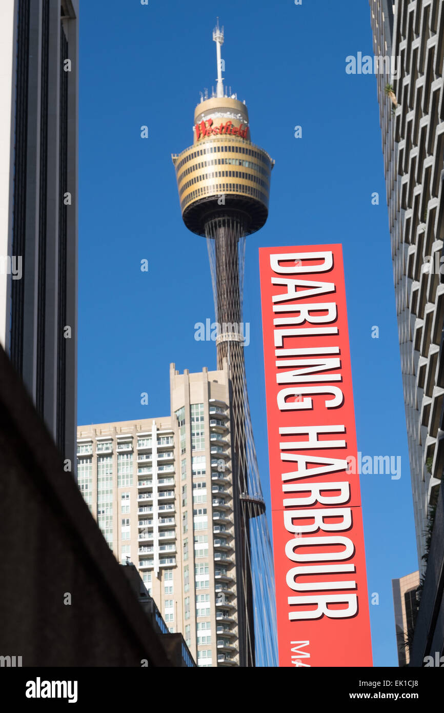 Downtown Sydney Australia from Darling Harbor bridge. - Stock Image