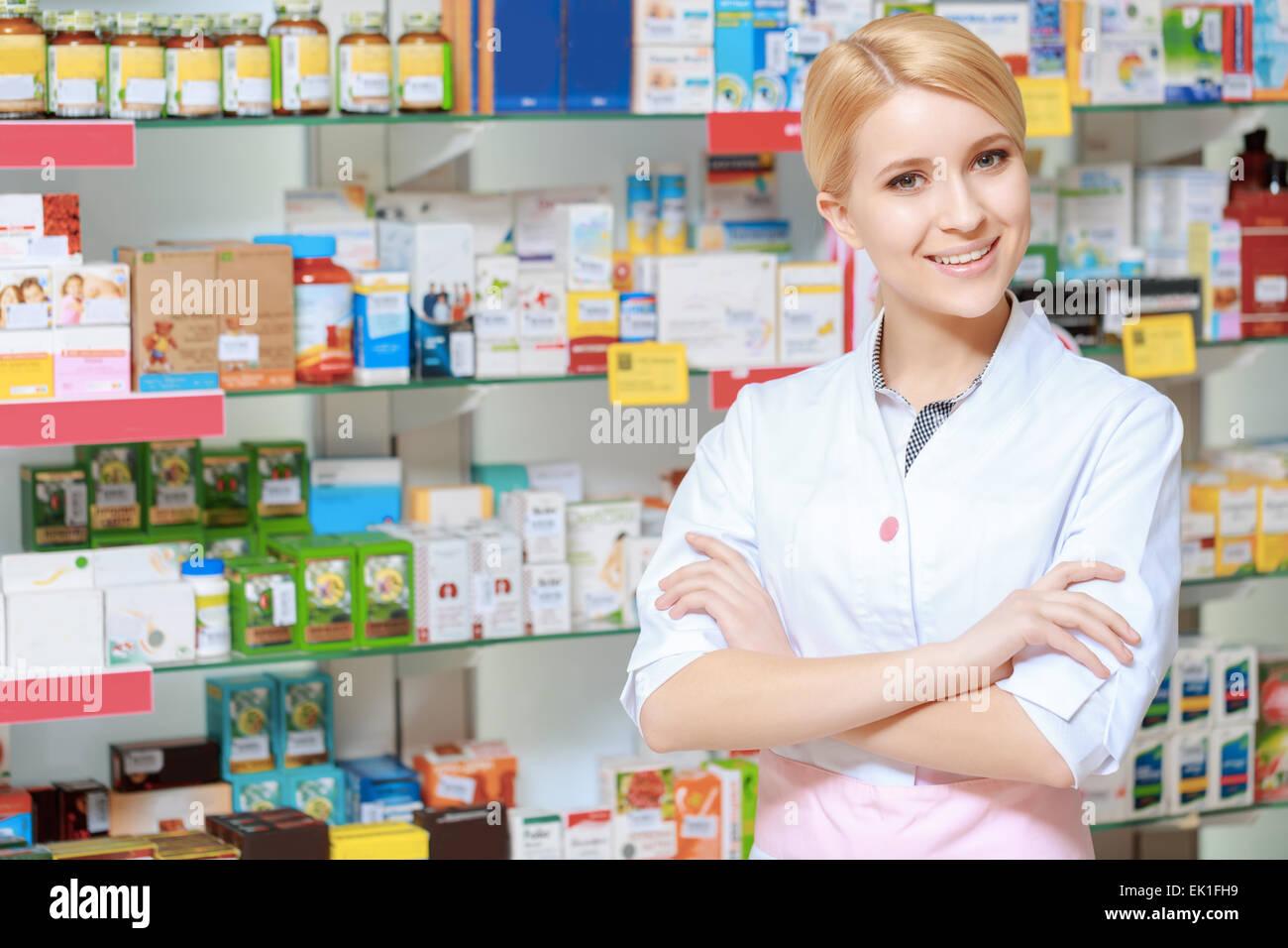 Range of medicine in the drugstore - Stock Image