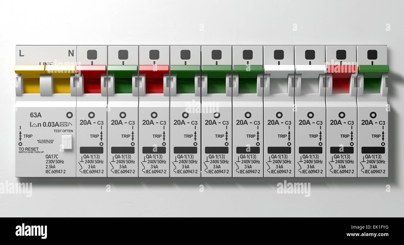 A Row Of Switched On Household Electrical Circuit Breakers Wall Home Wiring Switch Panel