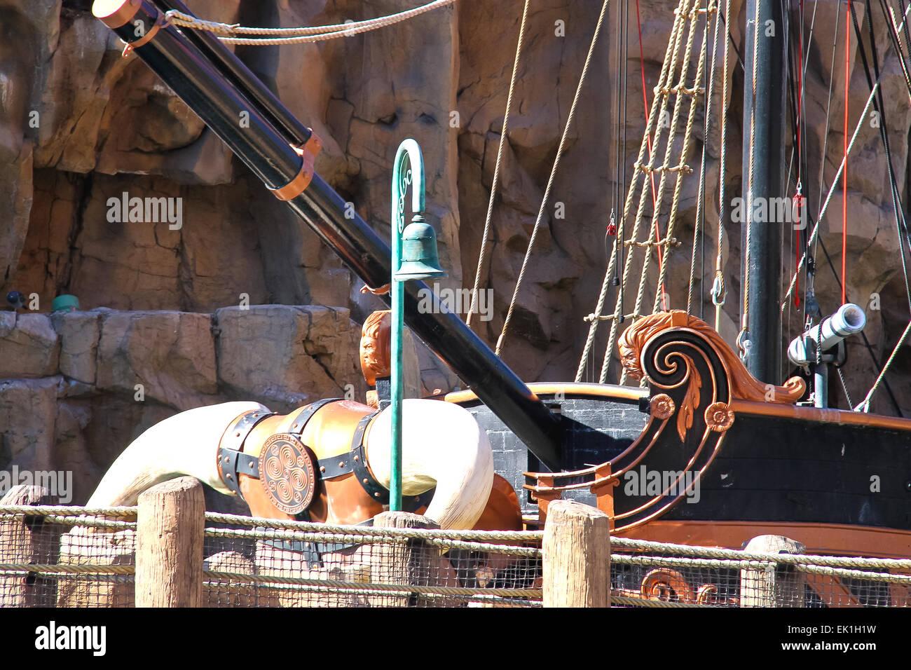 LAS VEGAS, NEVADA, USA - OCTOBER 20 : Pirate ship at pond near Treasure  Island hotel on October 20, 2013 in Las Vegas