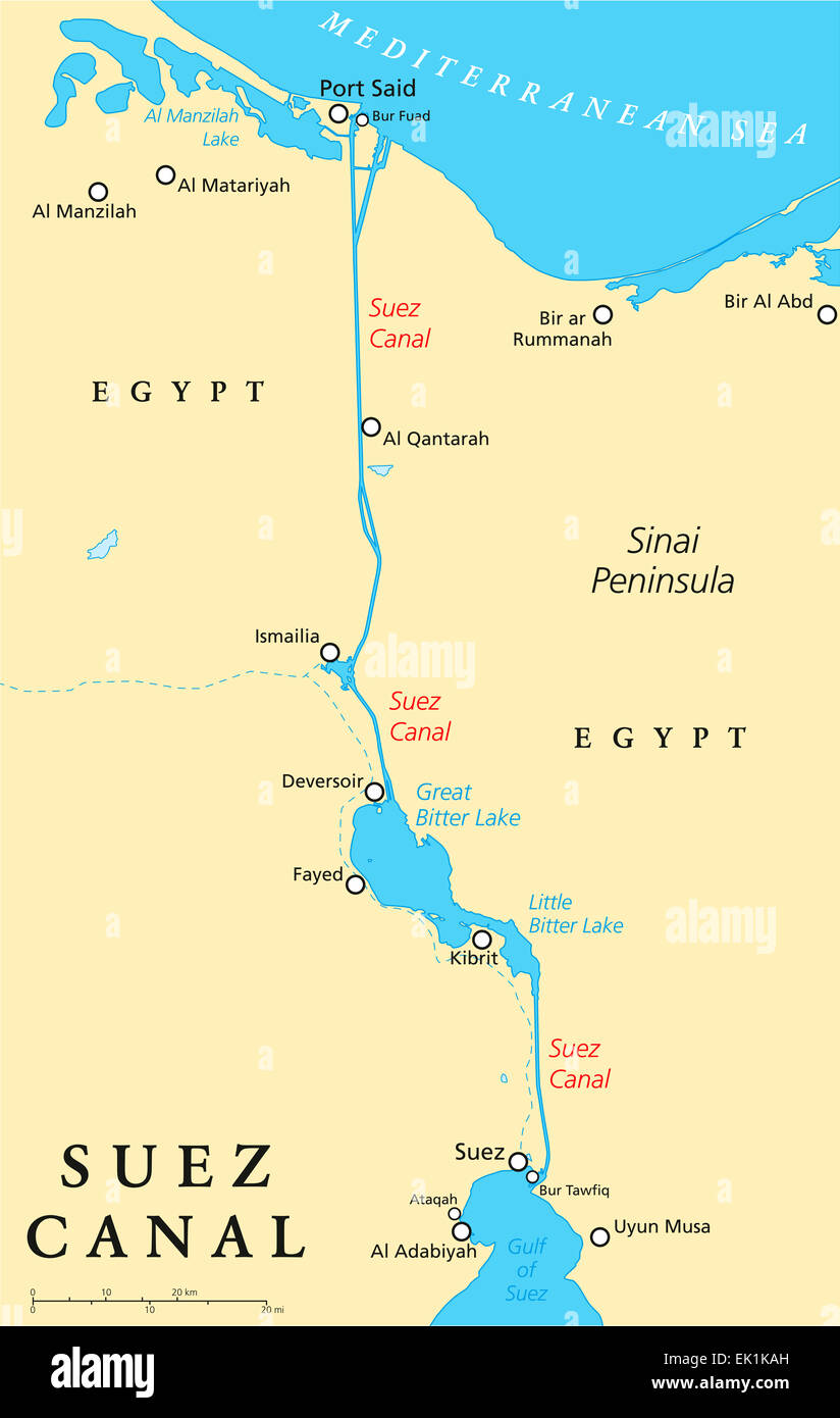 Suez Canal Map Suez Canal Political Map Stock Photo: 80557081   Alamy Suez Canal Map