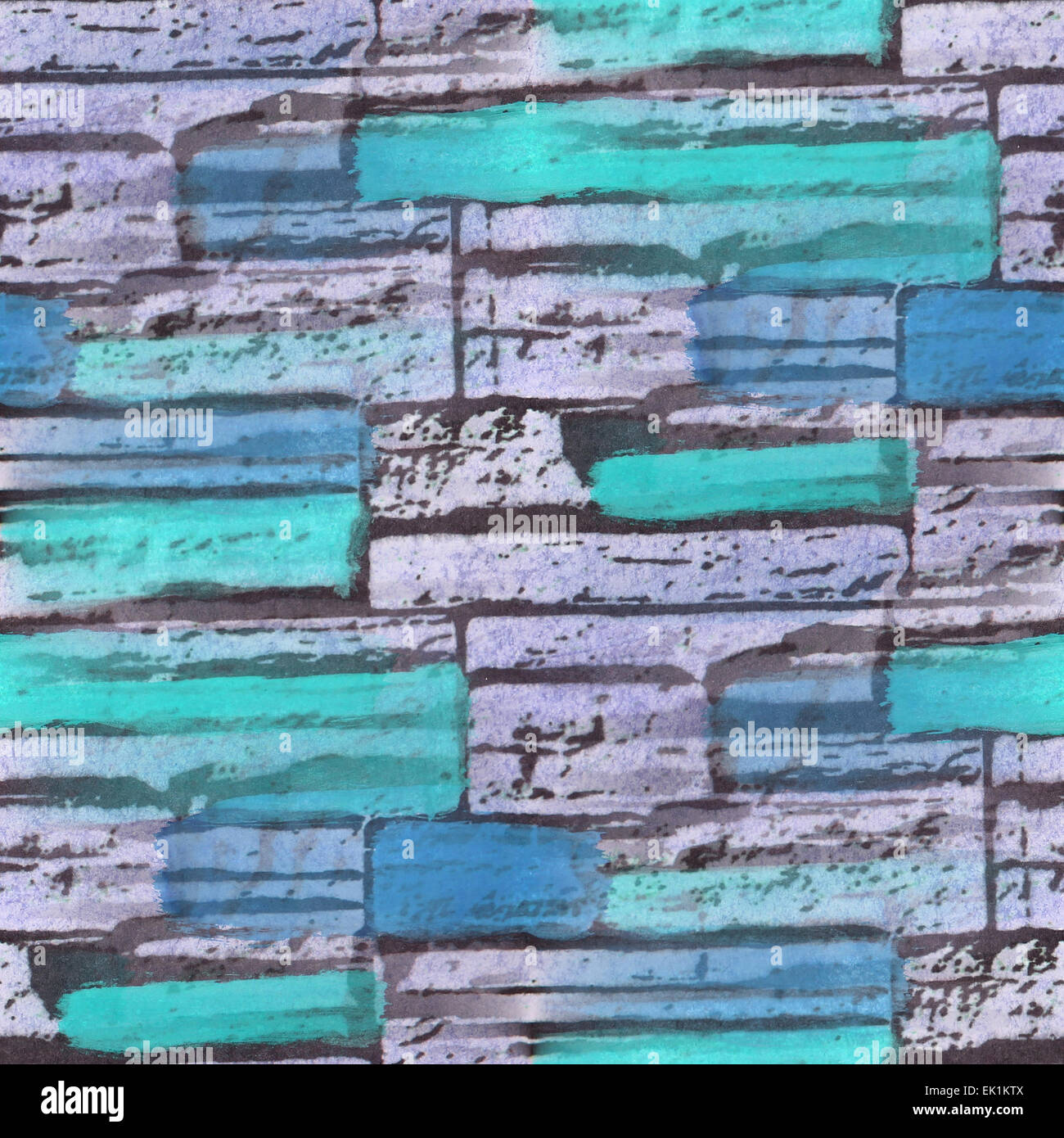 Seamless Blue Turquoise Bricks Texture Background Wallpaper Pat