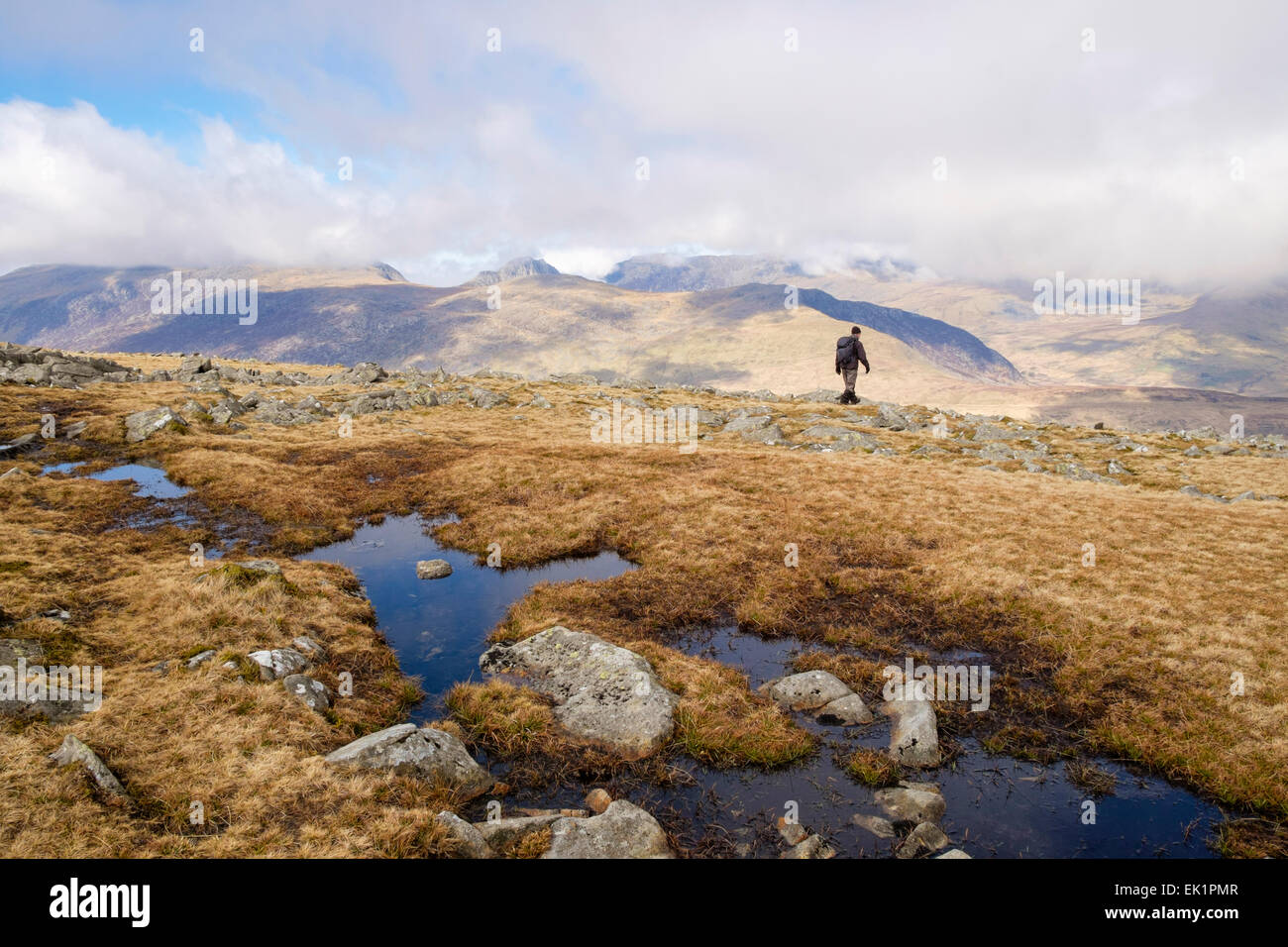 Upland pool on Moel Siabod with view to distant mountains and solitary walker in Snowdonia National Park (Eryri). - Stock Image