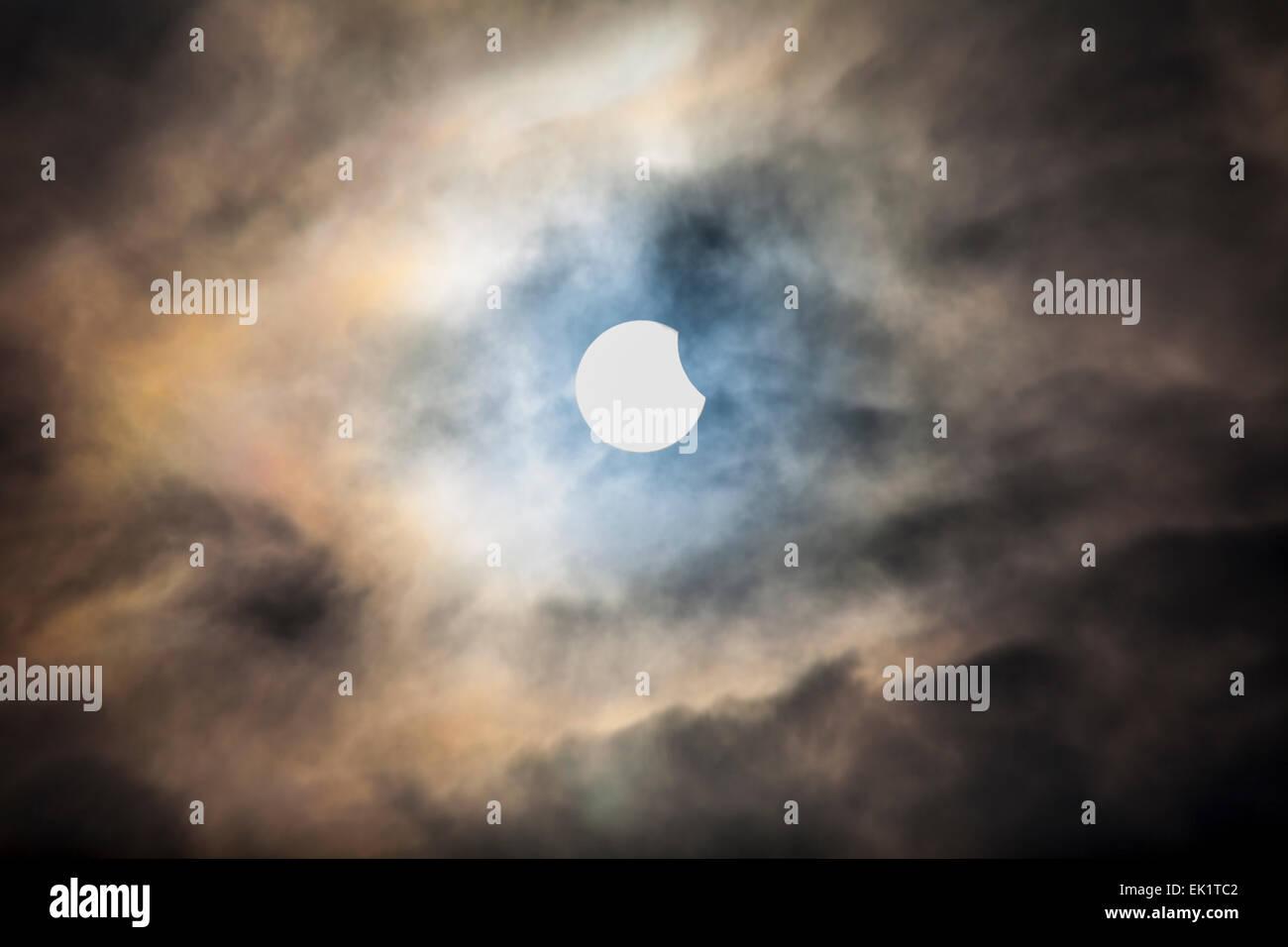 Partial Solar Eclipse 2015 - Stock Image