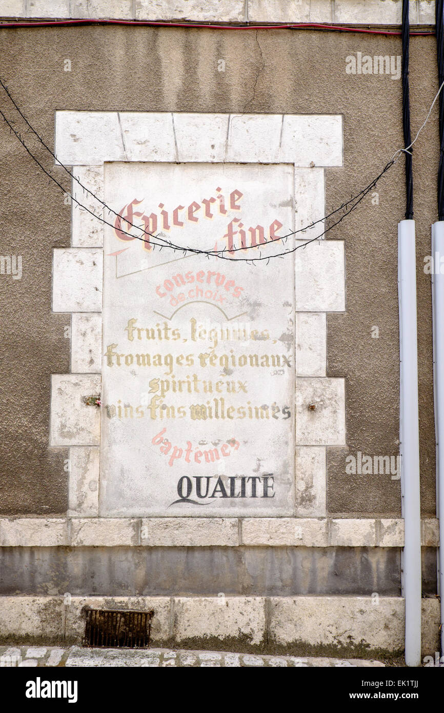Epicerie Fine sign on grocery shop in at Beaugency, Loiret, France - Stock Image