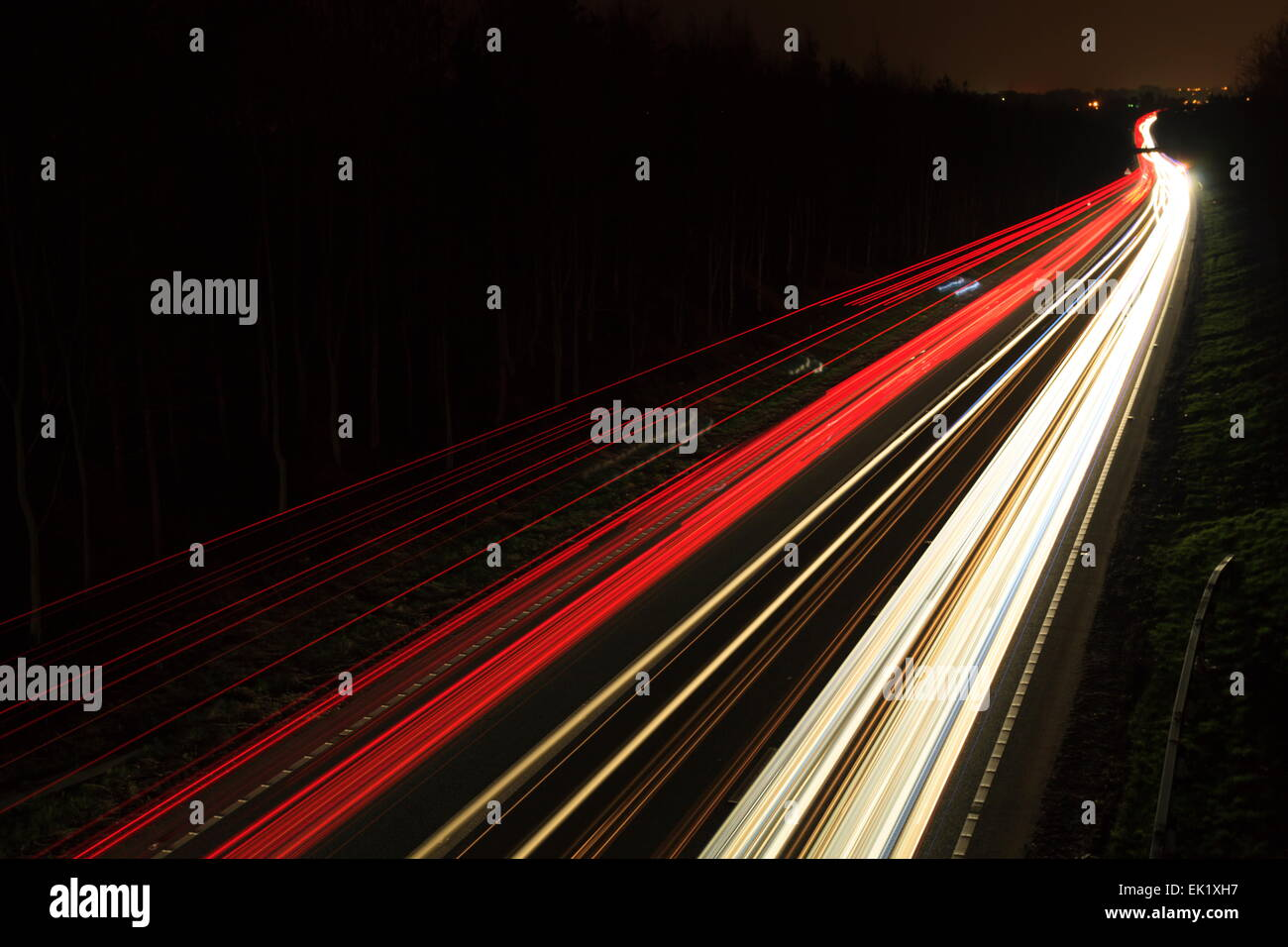 Light trails on the A5 near Chirk - Stock Image