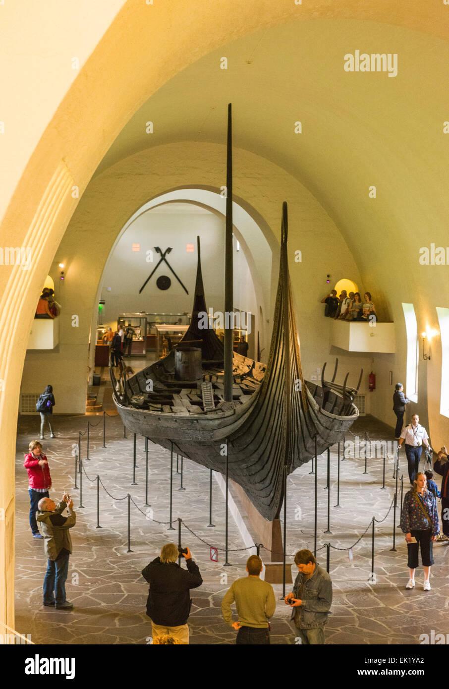 Oseberg ship at the Viking Ship Museum, Bygdøy, Oslo, Norway. Stock Photo