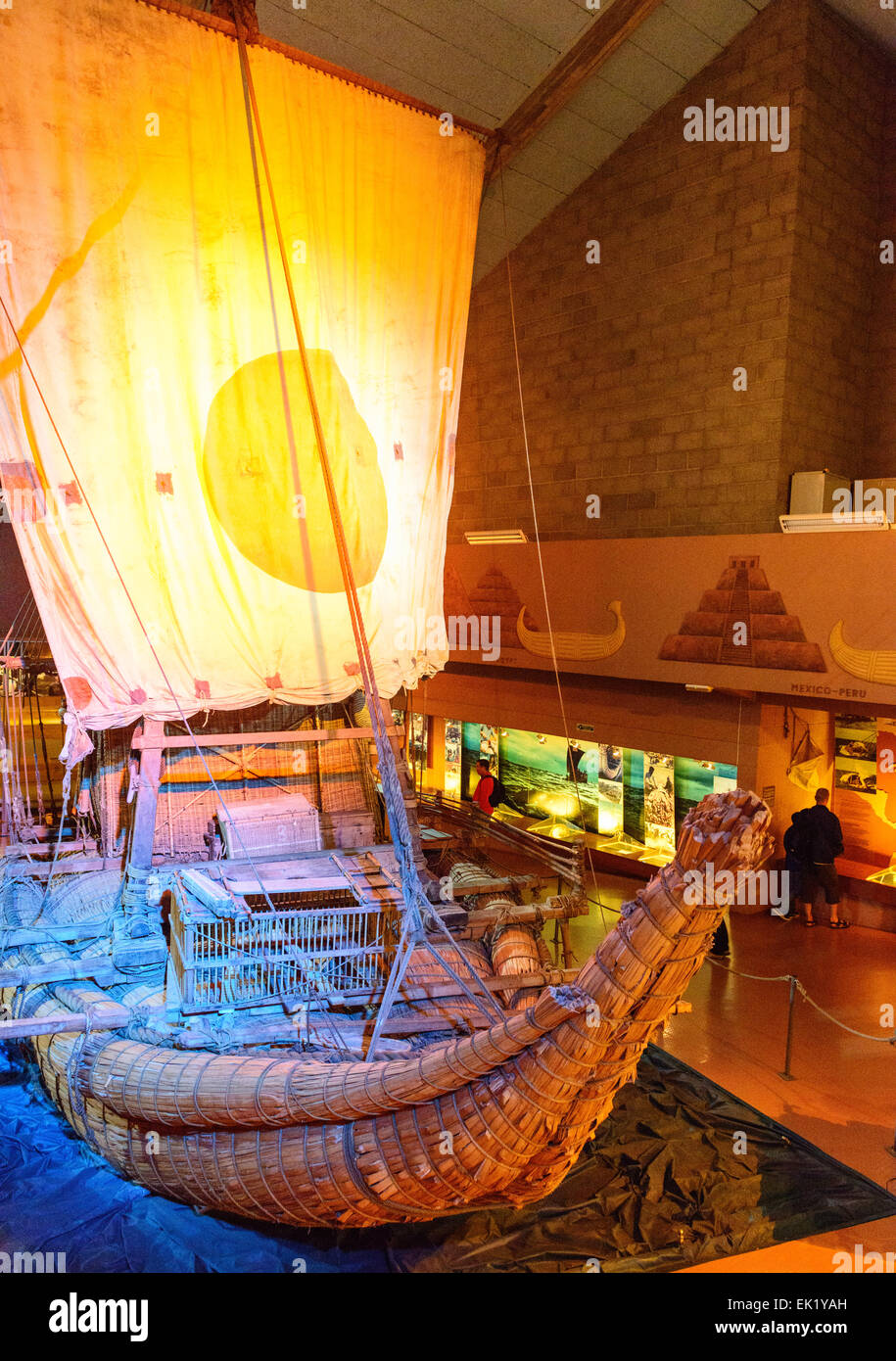Ra II papyrus raft, sailed across the Atlantic Ocean from Morocco to Barbados in 1970 by Norwegian Explorer, Thor - Stock Image