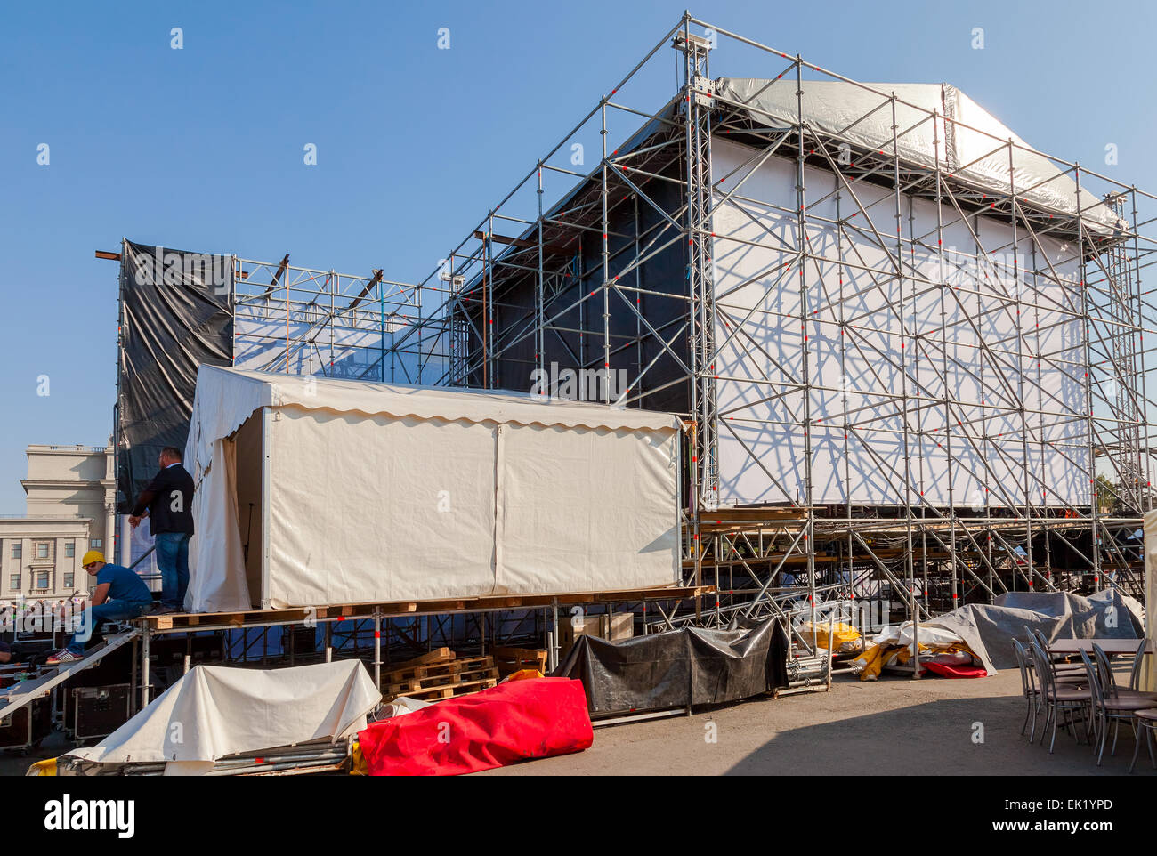 Behind the scenes during a concert in the town square in Samara - Stock Image