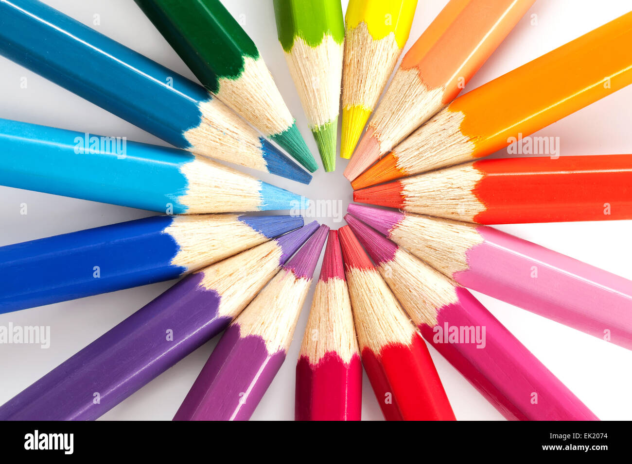 Color pencils in arrange in color wheel colors on white background - Stock Image