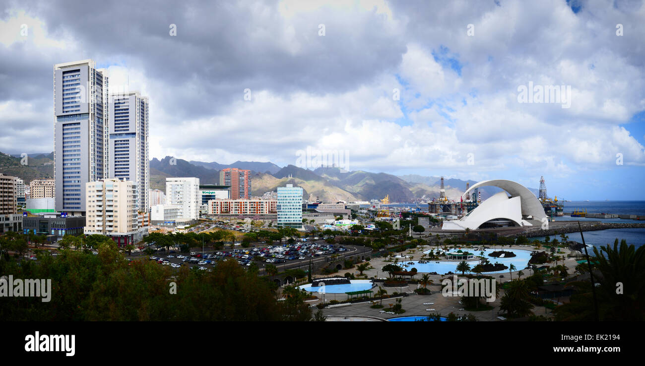 Auditorio Auditorium and Torres de Santa Cruz Tower in Santa Cruz de la Tenerife island Canary islands Spain - Stock Image