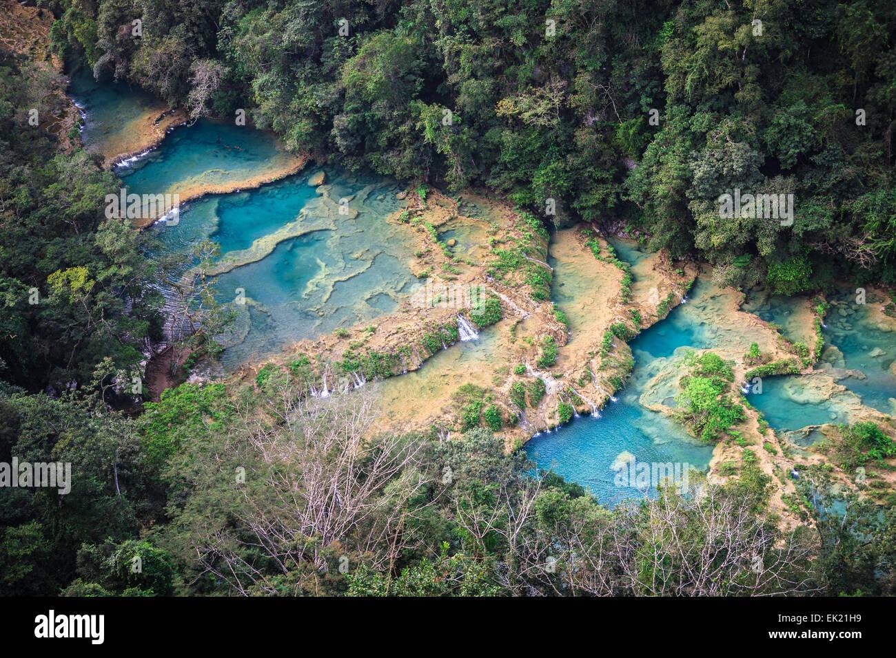 Semuc champay a natural aqua park in Guatemala - Stock Image