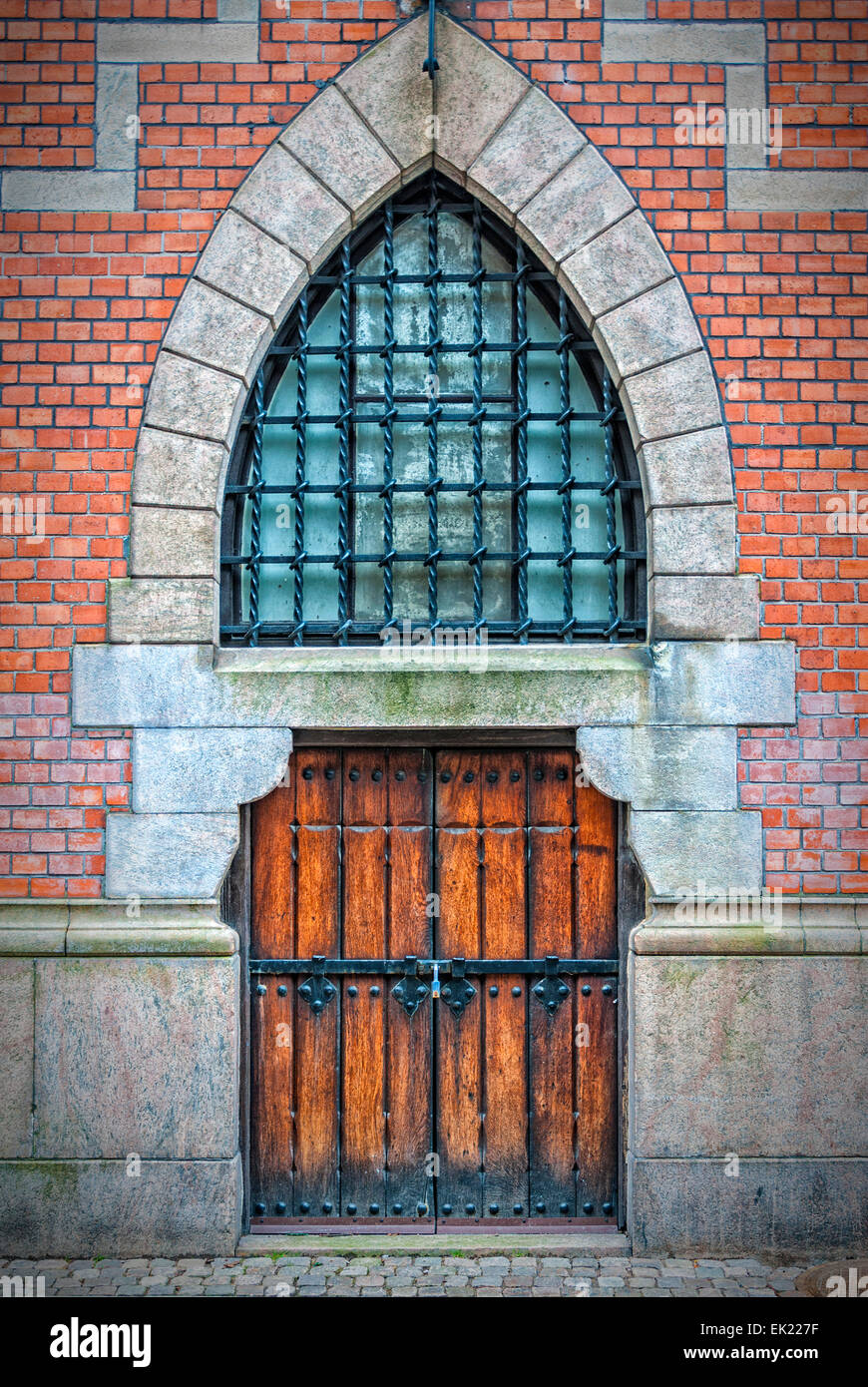 Wooden arched doors from the town hall building in Helsingborg, Sweden. - Stock Image