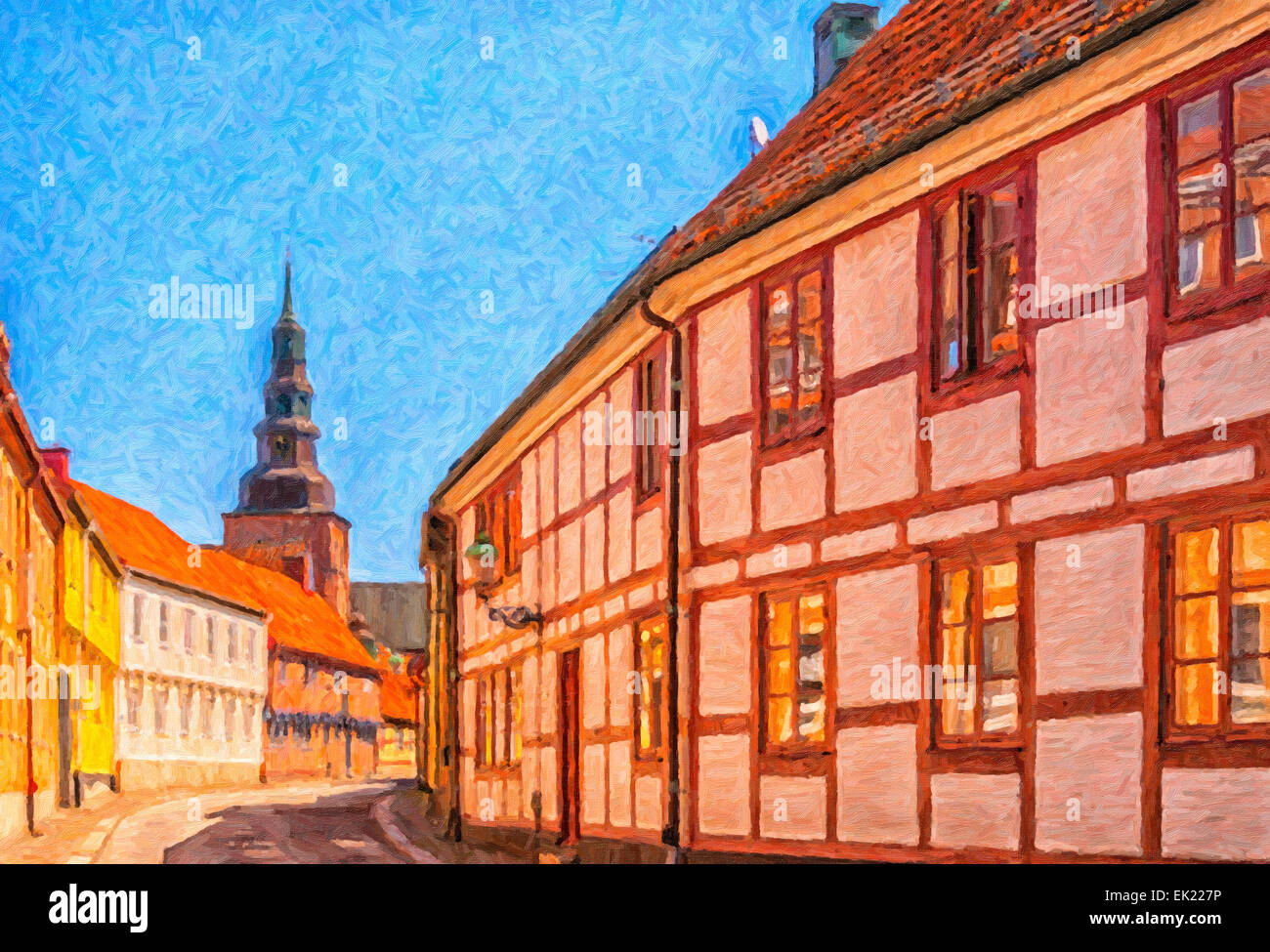 Digital painting of a street scene from the Swedish town of Ystad. - Stock Image