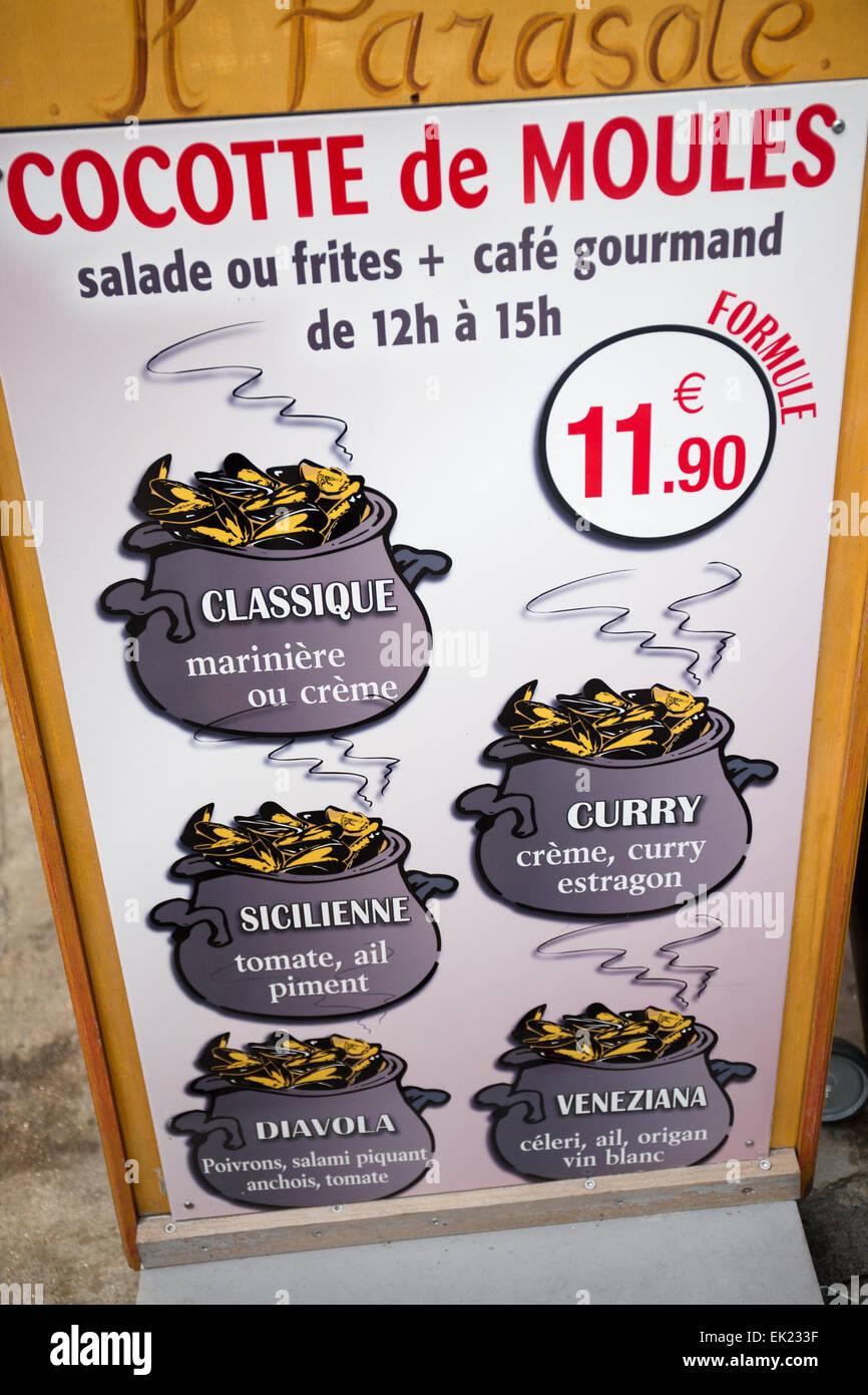 Les Moules menu sign, Honfleur, France, Europe - Stock Image