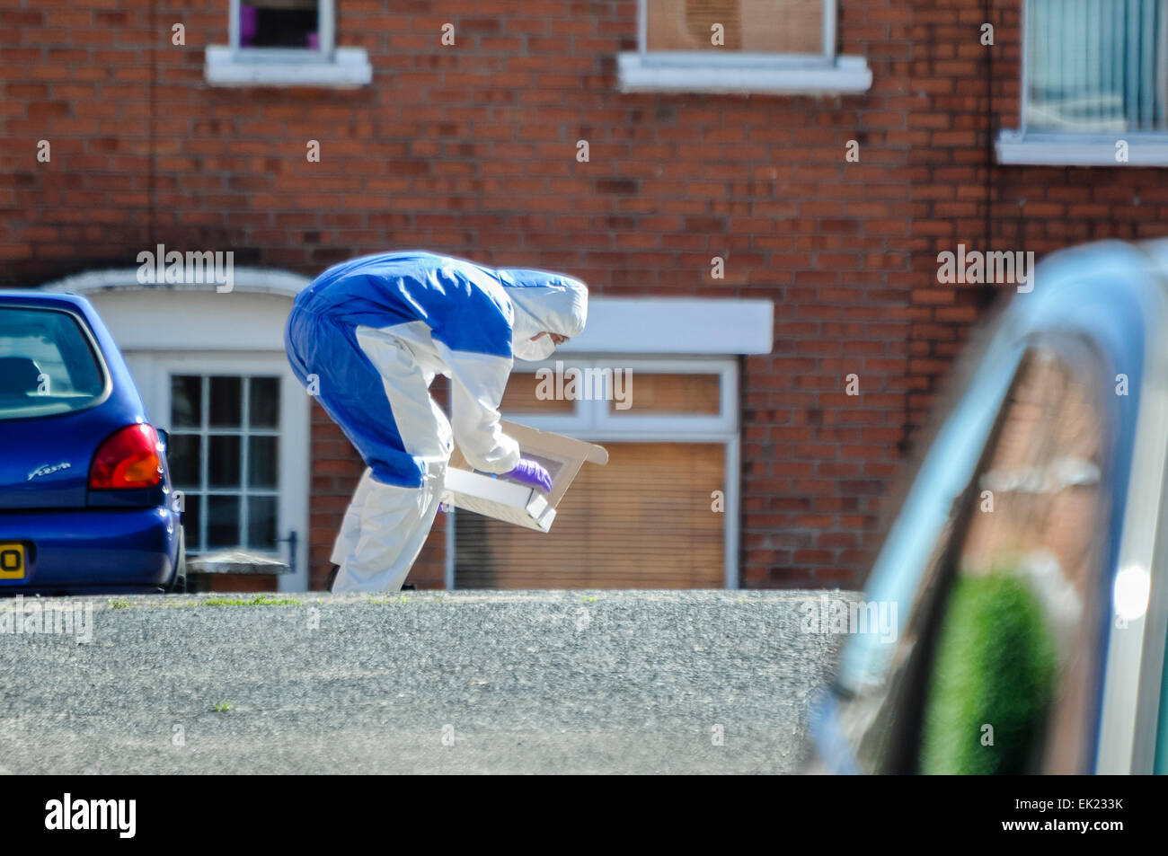 25th August 2013, Belfast - A Forensics officer bends down to lift evidence into a box during a security alert in - Stock Image