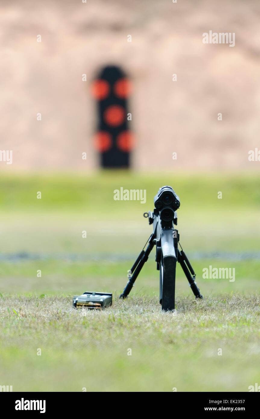 Remington 700P (police version) bolt action rifle with telescopic sights at a shooting range in Northern Ireland Stock Photo