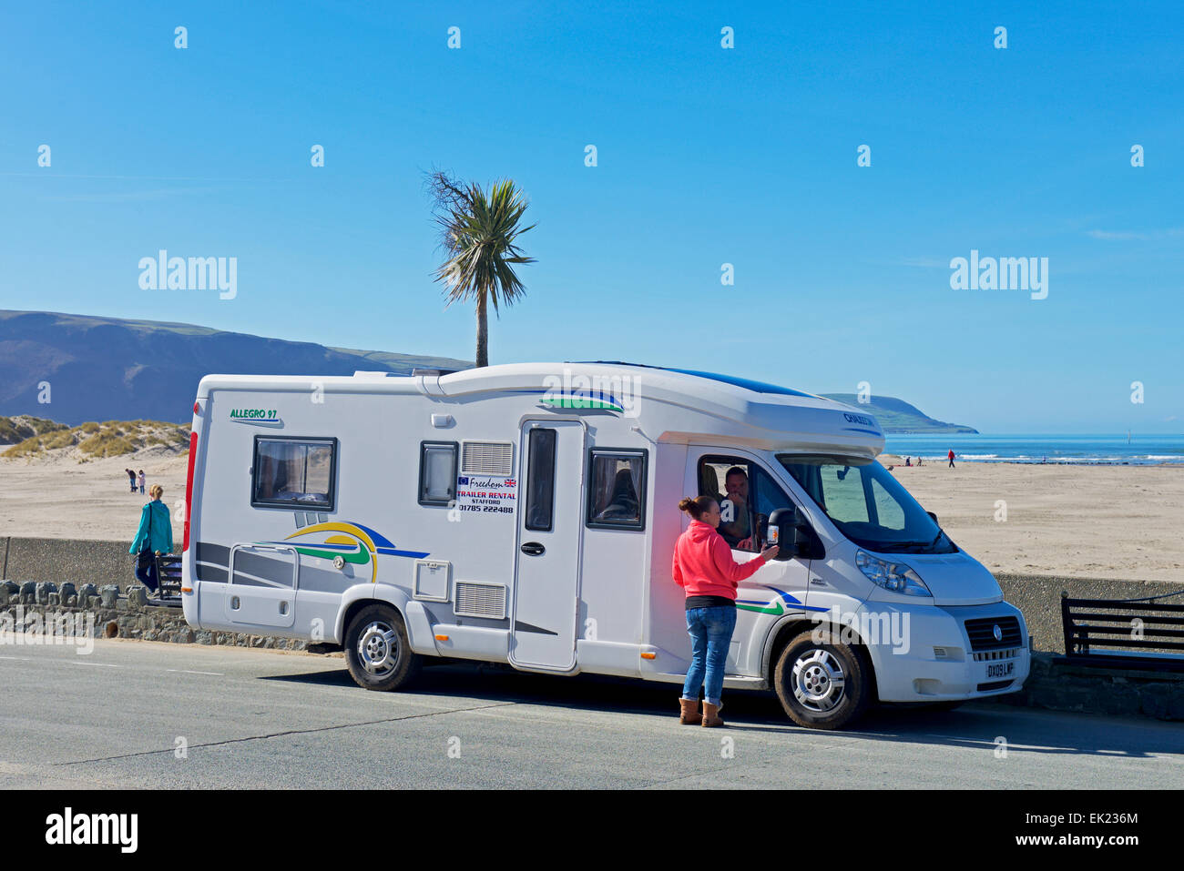 Motorhome parked on the promenade, Barmouth, Gwynedd, North Wales UK - Stock Image