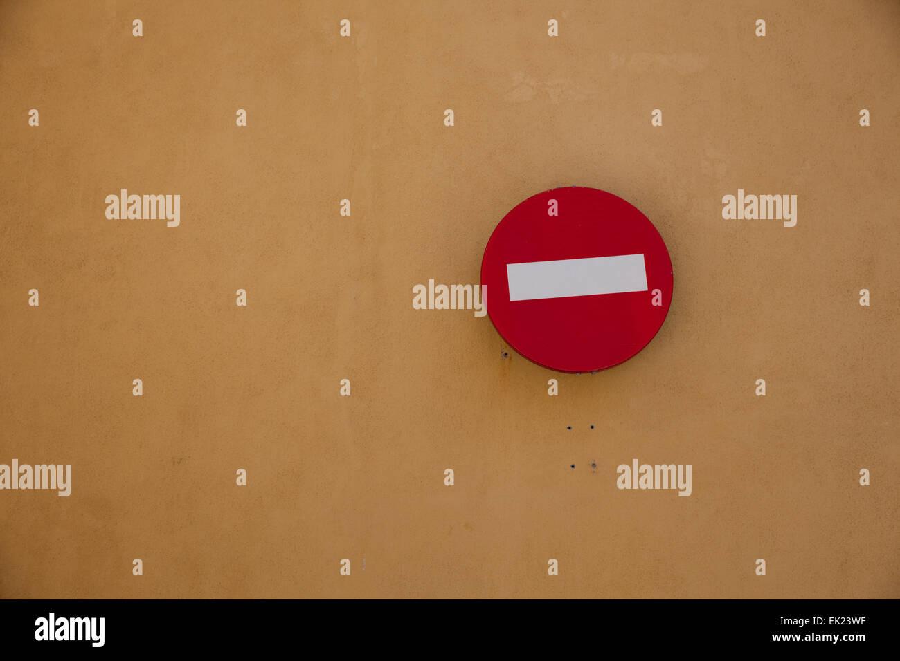 Wrong way sign in Mahon, Menorca, Spain. - Stock Image