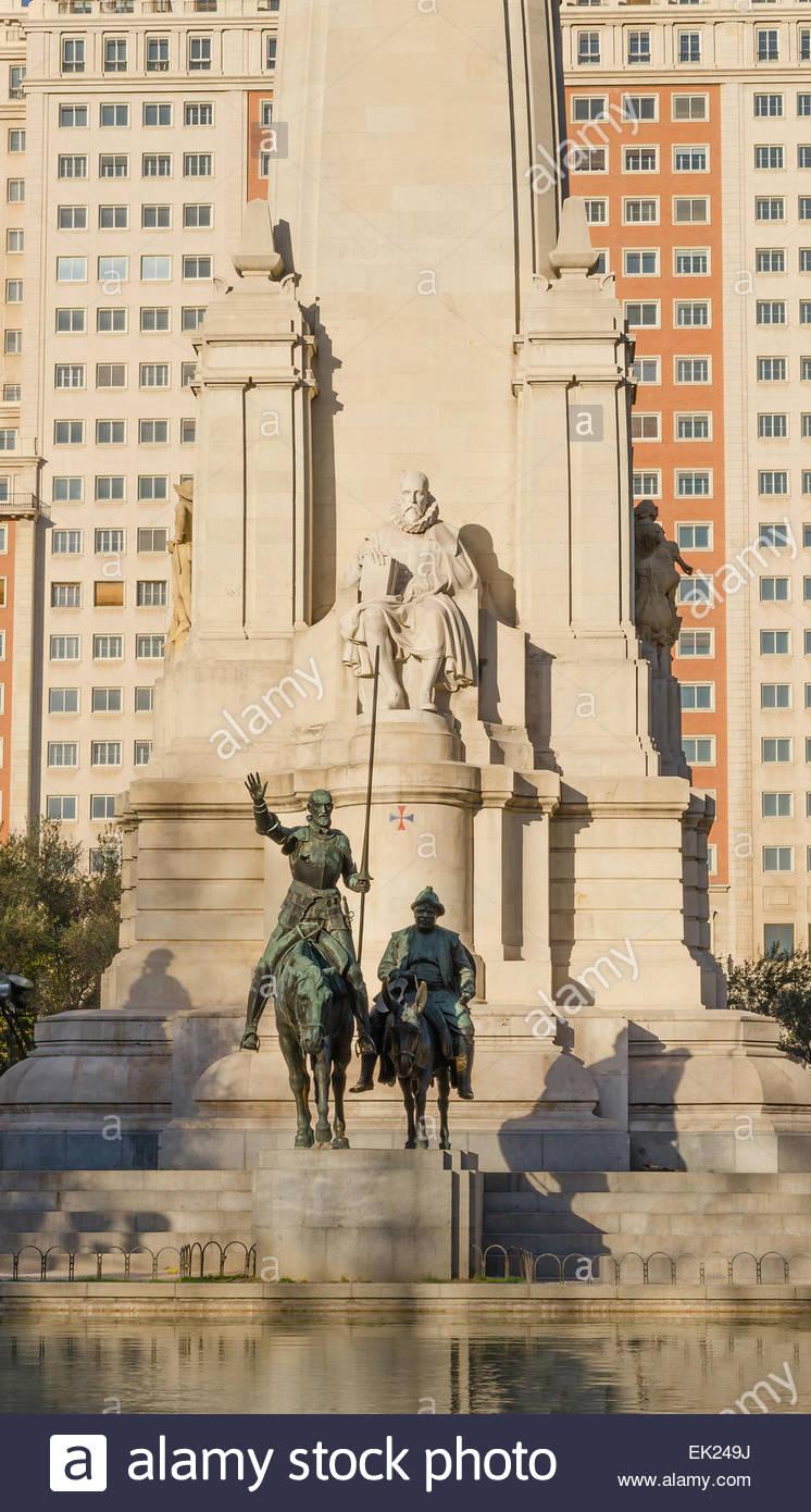 Sculpture of Don Quijote and Sancho Panza in Plaza de España, Madrid Stock Photo