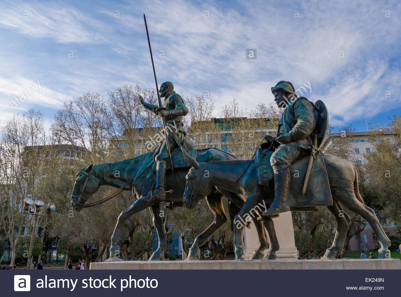 Don Quijote de la Mancha and Sancho Panza. Statue in Spain Square, Madrid Stock Photo
