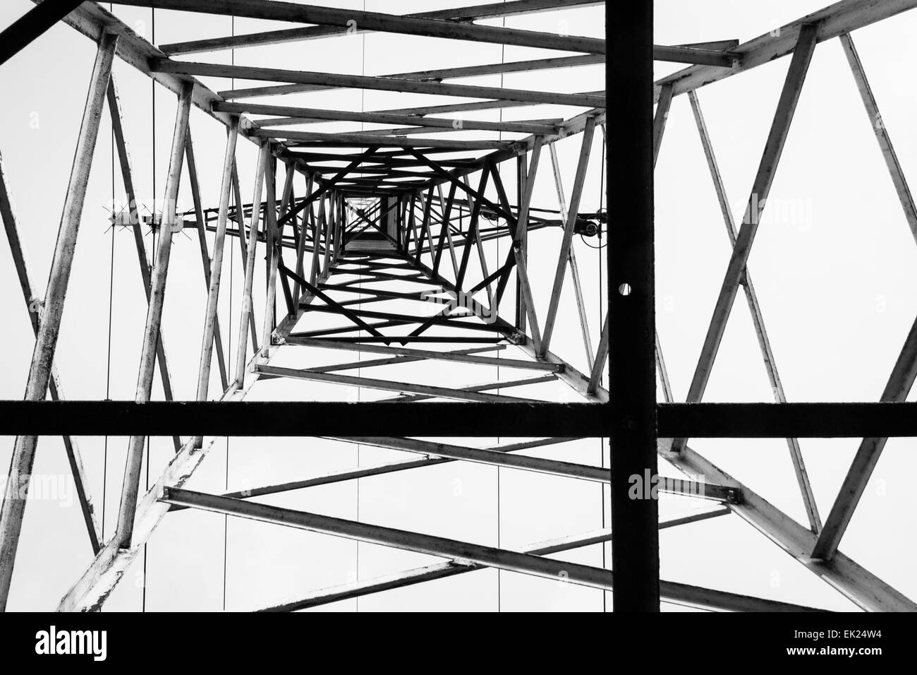 Photo of an electrical pillar taken from below. Composition based on rule of thirds. - Stock Image