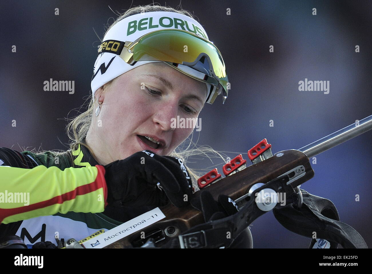 Tyumen, Russia. 4th Apr, 2014. Belarus's Darya Domracheva competes in a mixed relay race at the 2015 Biathlon - Stock Image