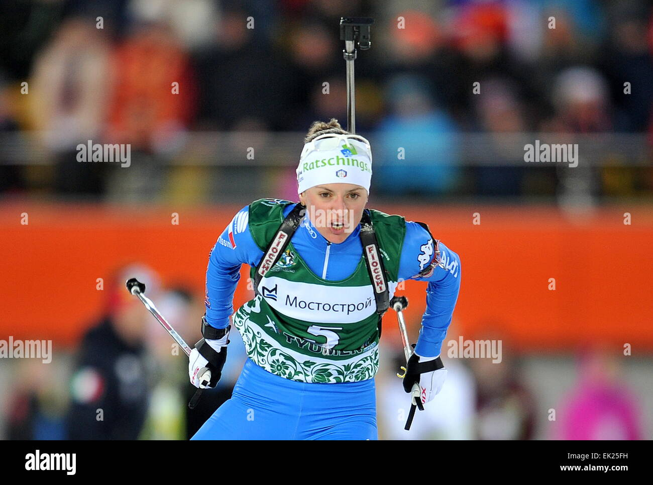 Tyumen, Russia. 4th Apr, 2014. Italy's Karin Oberhofer competes in a mixed relay race at the 2015 Biathlon Champions - Stock Image